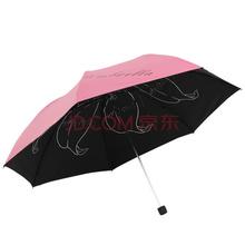 天堂伞(防晒指数UPF50 )成就梦想凝脂绸黑胶三折铅笔晴雨伞太阳伞 朱红 31020E