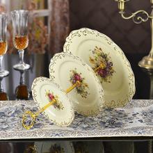 下午茶点心架水果架三层果盘陶瓷蛋糕盘欧式点心盘干果盘糕点盘