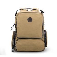 布维斯双肩包男帆布背包时尚旅行包学生背包书包韩版潮流大容量男士包包s058