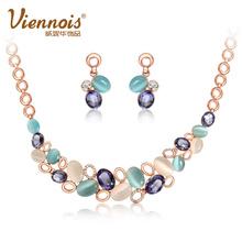 威妮华欧美饰品星海之光套装 仿猫眼石项链两件套装女锁骨链