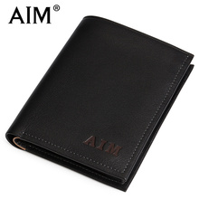 AIM超软牛皮超薄钱包 男 短款真皮钱夹 竖款钞票夹 皮夹A062