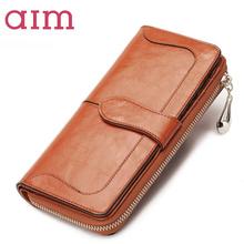 AIM2016新款牛皮钱包女长款拉链欧美时尚女士钱夹韩版女式皮夹