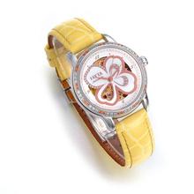 飞亚达(FIYTA)手表摄影师系列四叶草机械女表白盘黄带