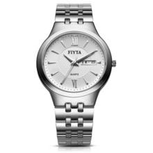 飞亚达(FIYTA)手表 卓雅系列石英情侣腕表 白盘钢带男表G1268.WWW