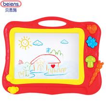 贝恩施儿童画板 大号彩色磁性画板 婴儿幼儿涂鸦宝宝小黑板玩具红色