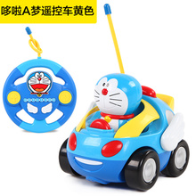 哆啦a梦遥控车玩具 男孩电动遥控汽车宝宝玩具儿童卡通模型玩具车黄色