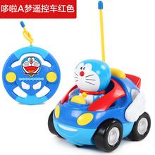 哆啦a梦遥控车玩具 男孩电动遥控汽车宝宝玩具儿童卡通模型玩具车红色
